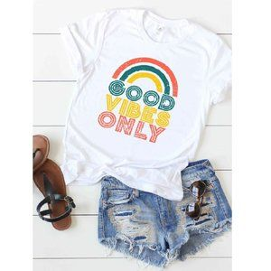 """NWT """"Good Vibes Only"""" Rainbow Graphic Women's Tee"""